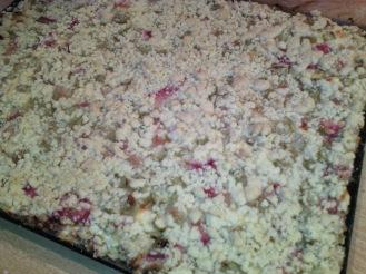 Rhabarberblechkuchen mit leckerer Quarkcreme und Streuseln